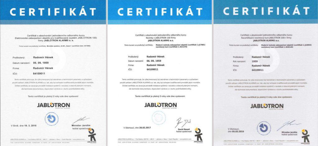 Hének Radomír certifikát Jablotron