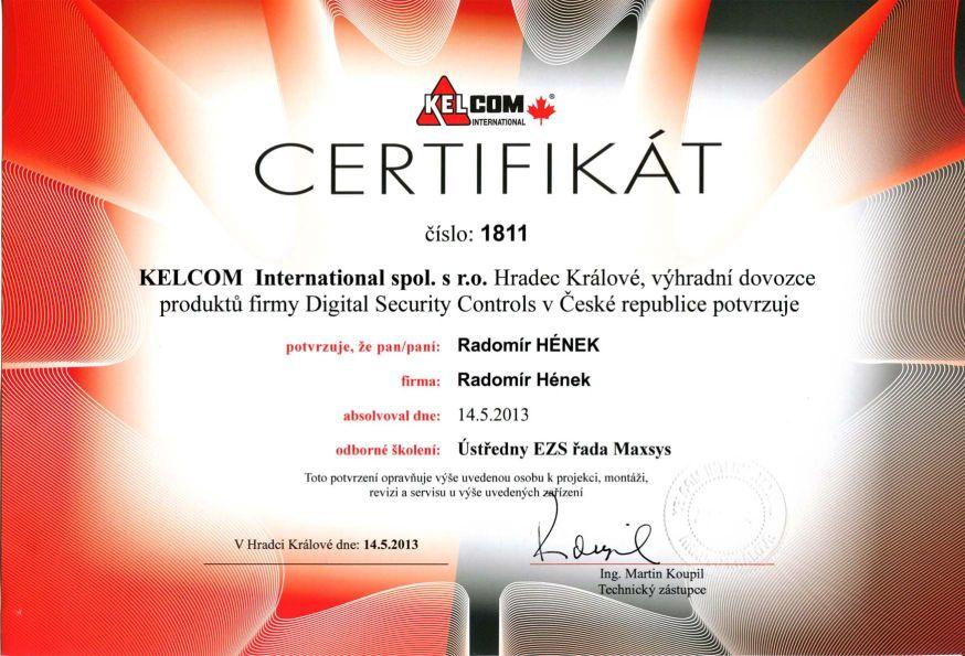 Hének Radomír certifikát Kelcom